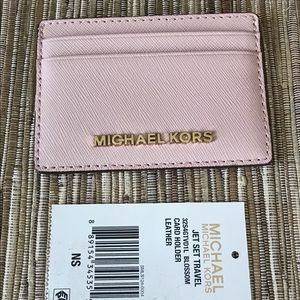 Auth Michael Kors blossom pink leather card case